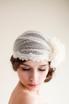Dotted Bridal Cap Juliet Cap Bridal Veil Heapiece Point d Esprit Bridal Cap Swiss Dot Bridal Cap 1920s Art Deco - Claire MADE TO ORDER. $245.00, via Etsy.