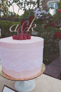 Wooden initial cake topper + pretty pink lace cake (@Karen Darling Me Pretty)