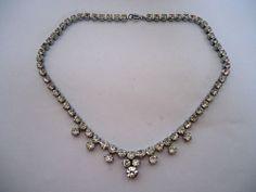 Vintage 1950's Clear Drop Diamanté Rhinestone Necklace ~ Quality Piece