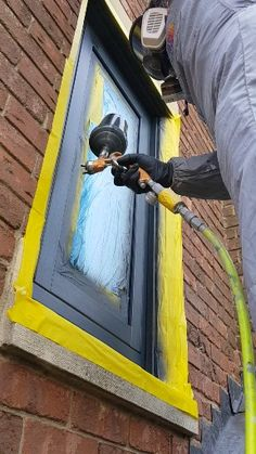 Value for money, upvc spraying. The Cost Effective Alternative to Replacing for NEW. House Paint Exterior, Exterior Paint Colors, Exterior House Colors, Exterior Doors, Grey Window Frames, Grey Windows, House Windows, Glass Porch, Glass Front Door