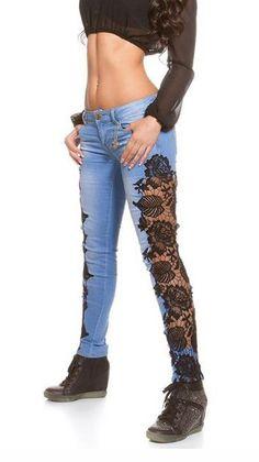 Lace Patchwork Bodycon Slim Low Waist Straight Jeans