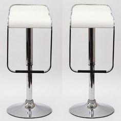 Gamma Modern Adjustable Bar Stools   White  Set Of 2 Modern Bar Stools,http