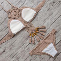 Bikini 2017 Knitted Swimsuit SexyBikini Set Costumi Da Bagno Donna Swimwear Women Summer High Neck H Knitted Swimsuit, Crochet Bikini Pattern, Bikini Set, Sexy Bikini, Bikinis For Sale, Crochet Clothes, Swimsuits, Boho, Elegant