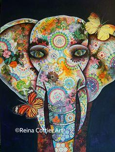 Mixed Media Elephant by Reina Cottier. www.reinacottier.com
