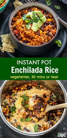 Easy Instant Pot Enchilada Rice gets done in less than 30 minutes! Packed with flavors, this is the perfect meal for busy days! Easy Instant Pot Enchilada Rice gets done in less than 30 minutes! Packed with flavors, this is the perfect meal for busy days! One Pot Vegetarian, Vegetarian Recipes Dinner, Veggie Recipes, Mexican Food Recipes, Healthy Recipes, Vegetarian Mexican Food, Vegetarian Recipes Instant Pot, Instapot Vegetarian Recipes, Mexican Desserts