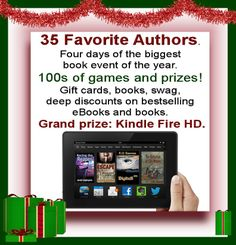Come join me at this awesome 4 day event for book lovers. There will be lots of games and tons of prizes. Kindle Fire HD is grand prize! https://www.facebook.com/events/497079807055347