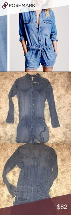 Free People Chambray Romper Like new condition, Free People chambray denim romper. Size small. Free People Other
