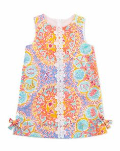 Z13SM Lilly Pulitzer Floral & Coral-Print Little Lily Classic Shift Dress, Light Blue, Sizes 2-6
