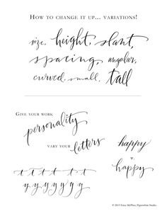 Variations to give your calligraphy personality