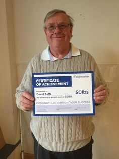 I'm so proud of Dave, he's proof that even without an active life you can still lose weight! Certificate Of Achievement, Lose Weight, Weight Loss, Selfies, Congratulations, Success, Awesome, Life, Losing Weight