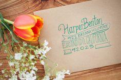 aqua lettering, photo by Michael and Kate Photography http://ruffledblog.com/lake-hodges-wedding-inspiration #weddinginvitations #envelopes