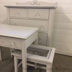 Furniture refinished by Superior Interiors Kelowna using Superior Paint Co. White Chalk Paint, Recycled Furniture, Small Spaces, Cool Stuff, Bedroom, Interiors, Wood, Modern, Table