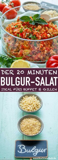 Schneller und einfacher Bulgursalat & www.emmikochteinf& Fast and easy bulgur salad & www.emmikochteinf & The post Quick and easy bulgur salad & www.emmikochtinf & appeared first on Pink Unicorn. Grilling Recipes, Veggie Recipes, Beef Recipes, Salad Recipes, Cooking Recipes, Fast Recipes, Simple Recipes, Dinner Recipes, Healthy Recipes