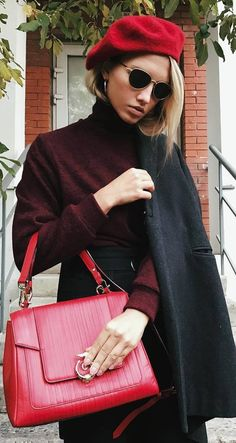 fall fashionable outfit red hat   bag   coat   sweater   pants
