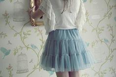 blue skirt, blue bird.