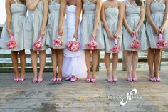 The first of many bridesmaid shoe shots. Pink and grey wedding colors. LOVE!!