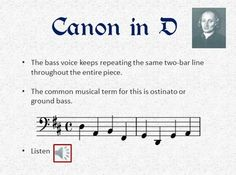 All you need for a unit on Pachelbel's Canon in D  This is a zip file that contains a PowerPoint with audio clips and FOUR associated worksheets/tasks  http://www.teacherspayteachers.com/Product/Pachelbels-Canon-in-D