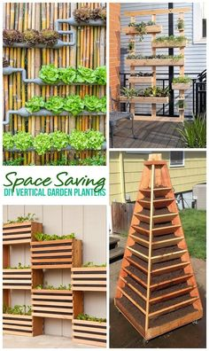 Space Saving DIY Tutorials to Create Pretty and Functional Do It Yourself Vertical Garden Planters - Outdoor DIY Projects
