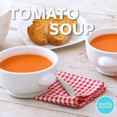 """This creamy tomato soup recipe is adapted from """"Martha Stewart's Cooking School. Gourmet Recipes, Cooking Recipes, Healthy Recipes, Irish Potato Soup, Martha Stewart Cooking School, Turkey Soup, Tomato Soup Recipes, Nutritious Snacks, Soup And Salad"""