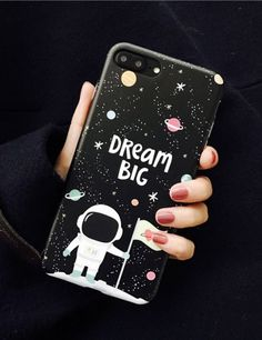 Dream Big iPhone 7 or iPhone 6 Case - Space Man Astronaut - Cute girly black phone case outer space with cartoon astronaut, planets, stars, & motivational quote. Shoot for the moon, inspirational quotes, motivation, dreamer, keep dreaming, girl power quotes, female empowerment quotes, feminism, feminist quotes, female entrepreneur quotes, empowering women quotes, strong women quotes, girl boss quotes. This is an affiliate link.