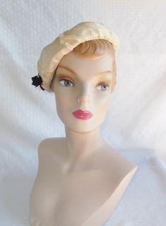 1960's Vintage Cream Color Beret Hat with by MyVintageHatShop