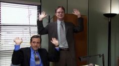 Hot GIF yes the office michael scott dwight schrute pumped raise the roof
