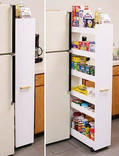 This rolling pantry organizer turns unused areas of the kitchen or pantry into maximum storage space. Because it is on casters this pantry glides effortlessl. Slide Out Pantry, Pull Out Pantry, Kitchen Without Pantry, Hidden Pantry, Kitchen Pantry, Diy Kitchen, Do It Yourself Organization, Home Organization, Small Kitchen Storage