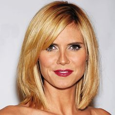 "Grow Out Your Cut Gracefully - Heidi Klum  -   Maybe I add bangs? Trying to avoid ""Hair Curtain."""