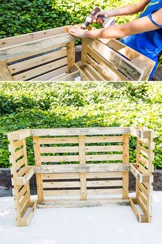 DIY This Pool Bar Made from Pallets to Step Up Your Backyard Game Diy Pallet Projects Backyard bar DIY Game Pallets pool Step Palet Bar, Outdoor Pallet Bar, Wood Pallet Bar, Wood Pallet Planters, Outdoor Bars, Pallet Ideas For Outside, Pallet Bar Plans, Pallet Pool, Pallet Benches