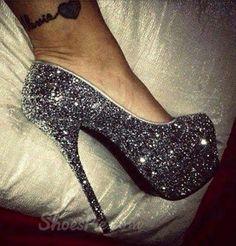 Amazing #Rhinestone #Black Coppy Leather #Platform High #Heel #Shoes from Shoespie.com