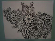 Original Hand Drawn Henna Design on Canvas. $35.00, via Etsy.
