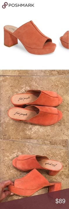 Free People Moody mules Coral suede, size 39/9, bc it's a mule fits 8.5 the best, listed as 8.5, worn few times, no trades Free People Shoes Mules & Clogs