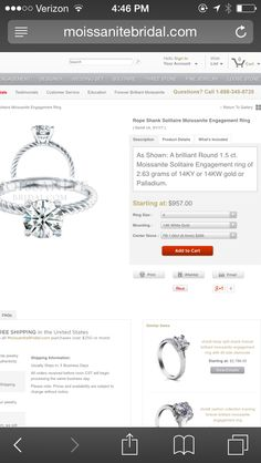 Rope Shank Solitaire Moissanite Engagment Ring: 1ct