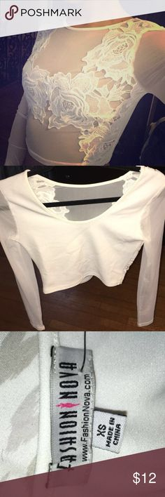 White mesh crop top Beautiful White mesh Fashion Nova Crop Top with floral detail covering the breast area. Only worn once Fashion Nova Tops Crop Tops