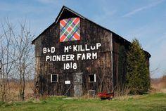 All Tangled Up quilt barn art, McKillop Farm, Elgin County, Ontario