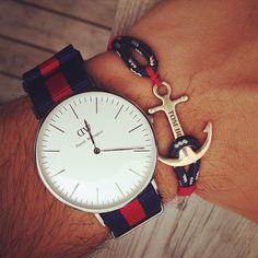 Tom Hope Pacific Red & a Daniel Wellington watch #tomhope #danielwellington #anchorbracelet