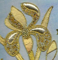 Gold and Metal - Kathleen Laurel Sage Gold Embroidery, Cross Stitch Embroidery, Brazilian Embroidery, Gold Work, Embroidery Techniques, Needle And Thread, Bead Art, Textile Art, Fiber Art