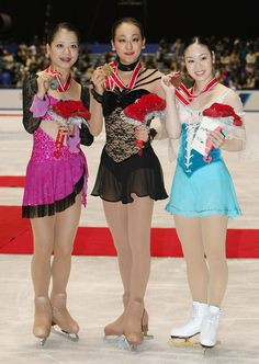 Mao Asada (JPN), Akiko Suzuki (JPN), and Yukari Nakano (JPN)  2008 Tokyo