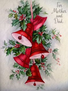 The red bells - Vintage card - For Mother and Dad