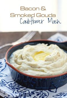 Bacon and smoked gouda cauliflower mash! Silky, smoky, bacony perfection - your family will request this low carb and gluten free side dish recipe over and over again! Atkins, gluten free, keto, low carb, paleo friendly.