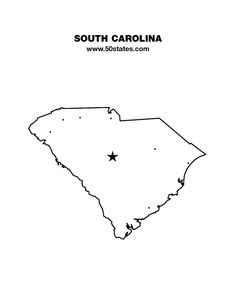 Blank map of South Carolina. Find this map and the other 49 states at http://www.50states.com.