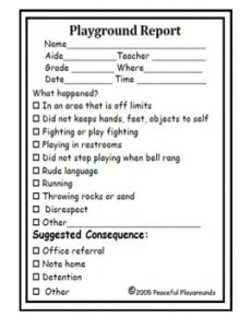 Playground Behavior Report From Peaceful Playgrounds Shop On