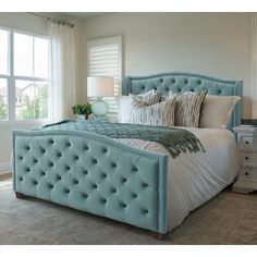 Gracewood Hollow Stanford Contemporary Tufted Wingback Bed | Overstock.com Shopping - The Best Deals on Beds - Arctic Blue - Velvet - Queen Tufted Bed, Wingback Headboard, Headboard And Footboard, Upholstered Beds, Bedroom Furniture Stores, Furniture Deals, Furniture Outlet, Online Furniture, Bedroom Sets