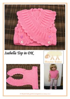 no to knitting and that colour, but the idea for a little vest could be cute in a knit fabric. (New for 2014 - MAYBE BABY DESIGNS Knitting Patterns for Baby) Más Knitting For Kids, Baby Knitting Patterns, Baby Patterns, Knitting Projects, Doll Patterns, Baby Vest, Baby Cardigan, Knit Or Crochet, Crochet For Kids