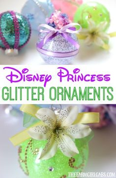 Disney Princess Glitter Ornaments, DIY and Crafts, These DIY Disney Princess Glitter Ornaments are perfect for the Disney fan. This easy holiday craft will look perfect hanging on the Christmas tree. Disney Christmas Crafts, Unicorn Christmas Ornament, Disney Christmas Decorations, Disney Ornaments, Glitter Ornaments, Disney Crafts, Homemade Christmas, Holiday Crafts, Christmas Diy