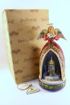 """Jim Shore """"Silent Night"""" Angel/Nativity Lighted Revolving Musical  # 4006648BS  - http://collectiblefigurines.net/jim-shore/christmas/jim-shore-silent-night-angelnativity-lighted-revolving-musical-4006648bs/"""