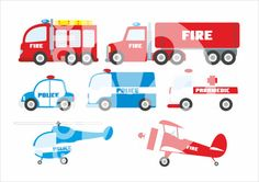 Emergency set digital poster police fire brigade by DigiFrog