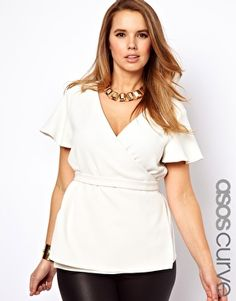Flattering wrap top from ASOS Curve.  Also available in orange.