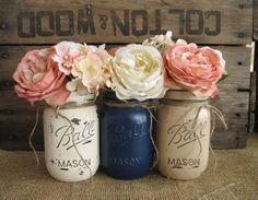 Mason Jars, Painted Mason Jars, Rustic Wedding Centerpieces, Baby Shower Decorations, Navy Blue, Tan And Creme Mason Jars