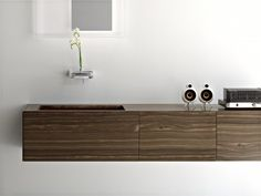 Toscoquattro bath - faucet with flower in there (guest?) Walnut vanity